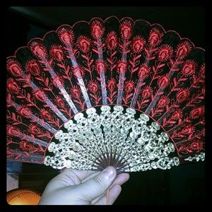 Accessories - Vintage Red and Burgundy Lace Hand Fan